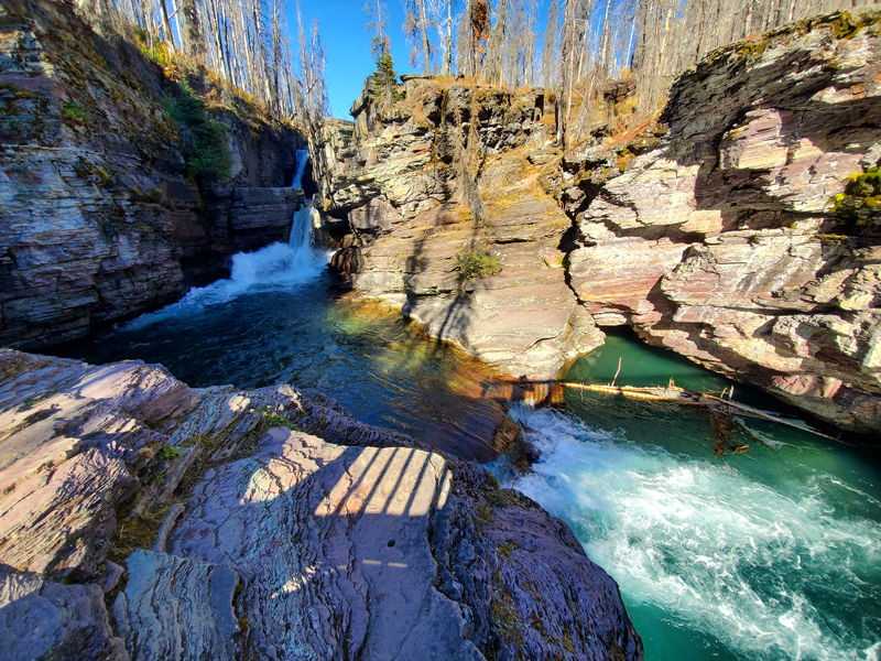 The view of St Mary Falls in Glacier National Park on one of our hikes.