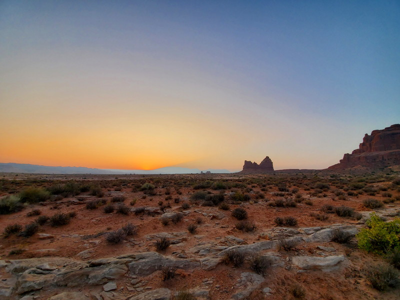 View of the sunrise from Arches NP.