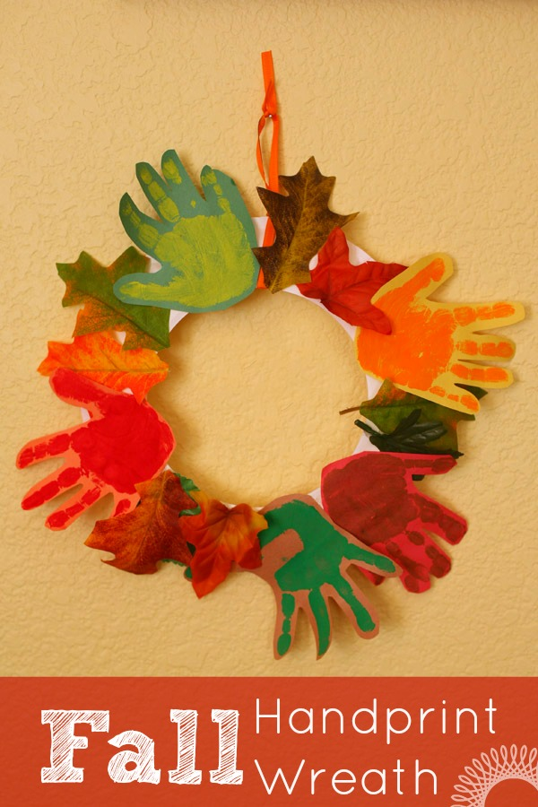 Fall handprint wreath craft for kids