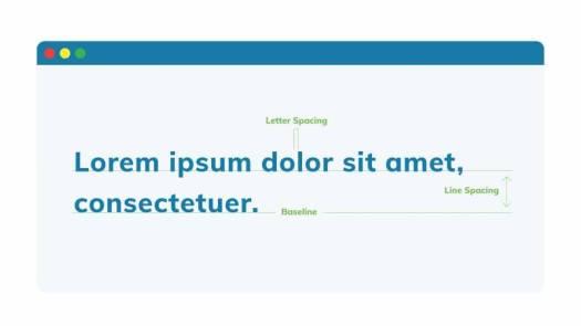 Lorem ipsum showing letter spacing, line spacing and baseline