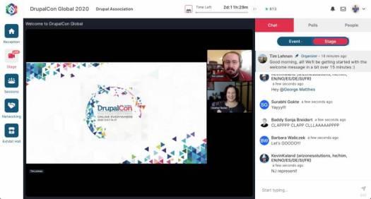screenshot displaying the DrupalCon virtual streaming interface
