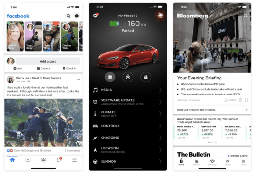 Apps built by React Native - Facebook, Tesla, Bloomberg