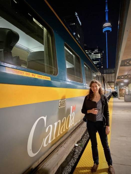 Suzanne on the Viarail platform in Toronto