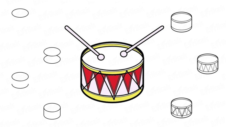 learning how to draw a drum step by step