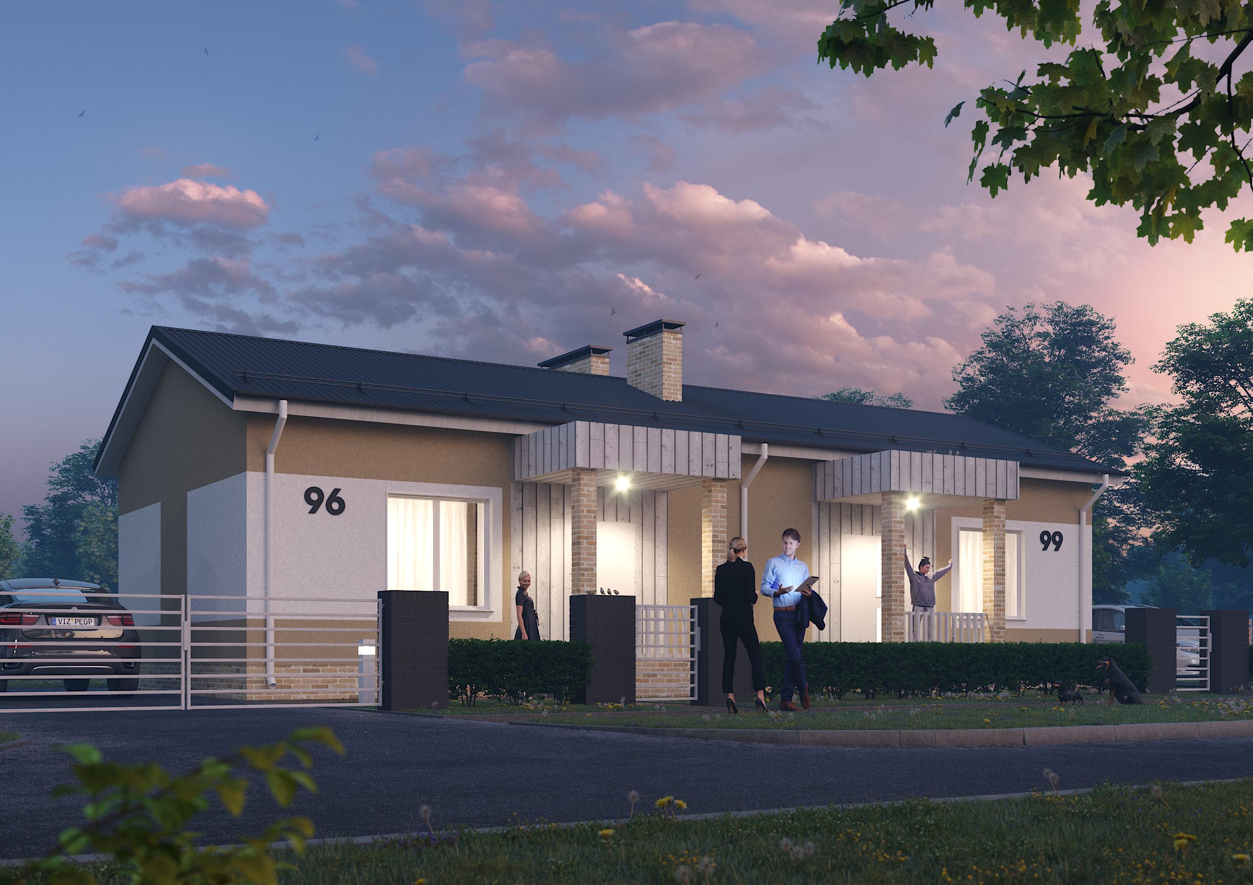 Общий вид дома с ночной подсветкой