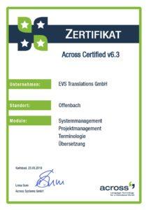 EVS Translations получава сертификат за Across