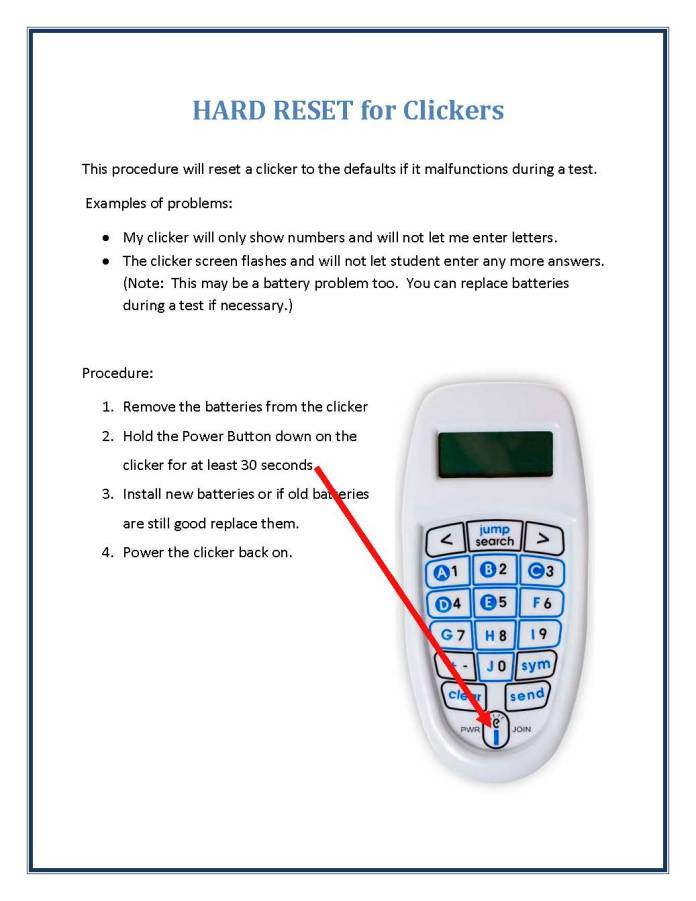 HARD RESET for Clickers