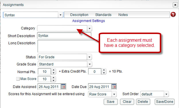 Assignment Missing Category Selection