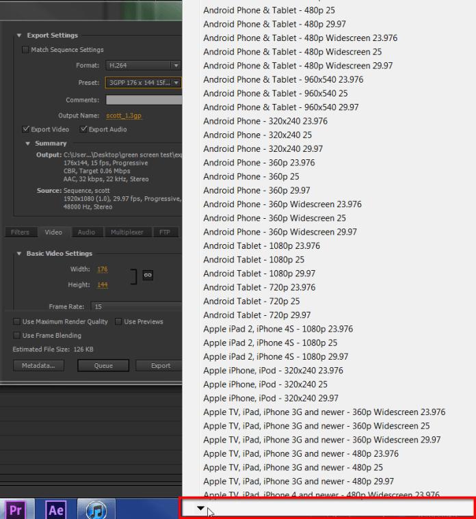 Adobe Premiere Pro H.264 Presets