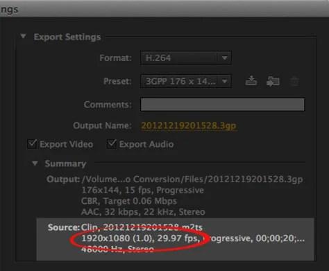 Media Encoder Export Settings Window