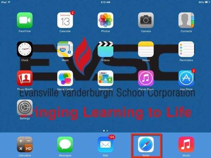 iPad select Safari