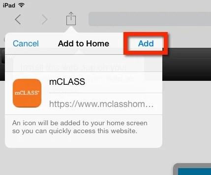 iPad Add icon button