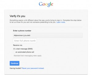 Google Account Verification Screen