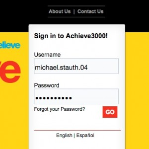 Achieve3000 Login Example