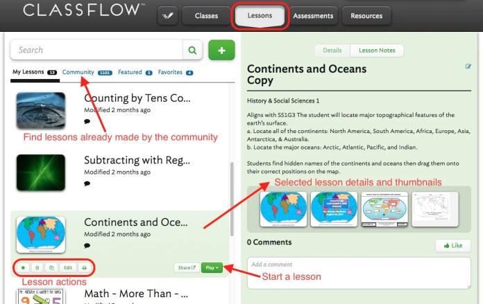 classflow lessons tab