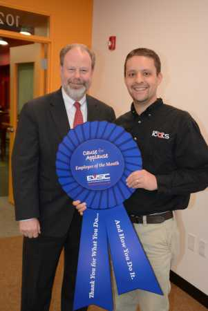 Jerrad Gleim, a specialist in integrating curriculum and technology for the EVSC, was recognized as the March 2015 Cause for Applause Award winner in the EVSC.