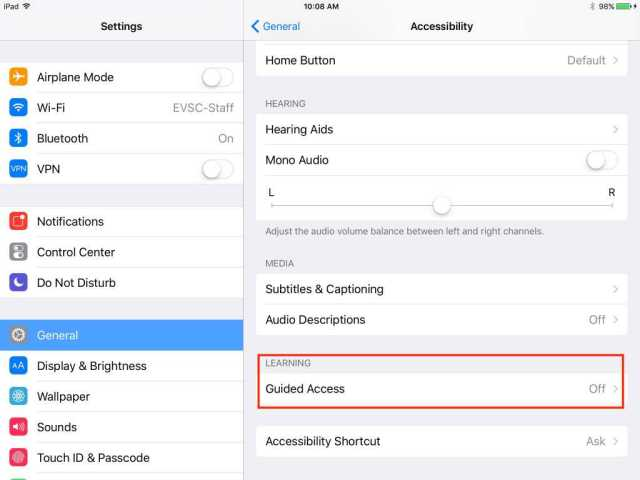 iOS Accessibility Learning Guided Access
