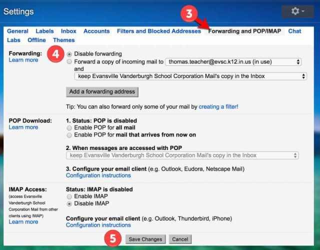 Turn off Gmail Forwarding - Steps 3-5