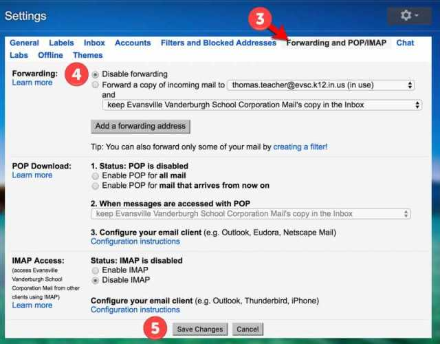 Turn off Gmail Forwarding - Steps 3-5