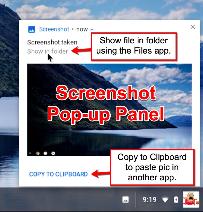 Screenshot Notification Pop-up Panel