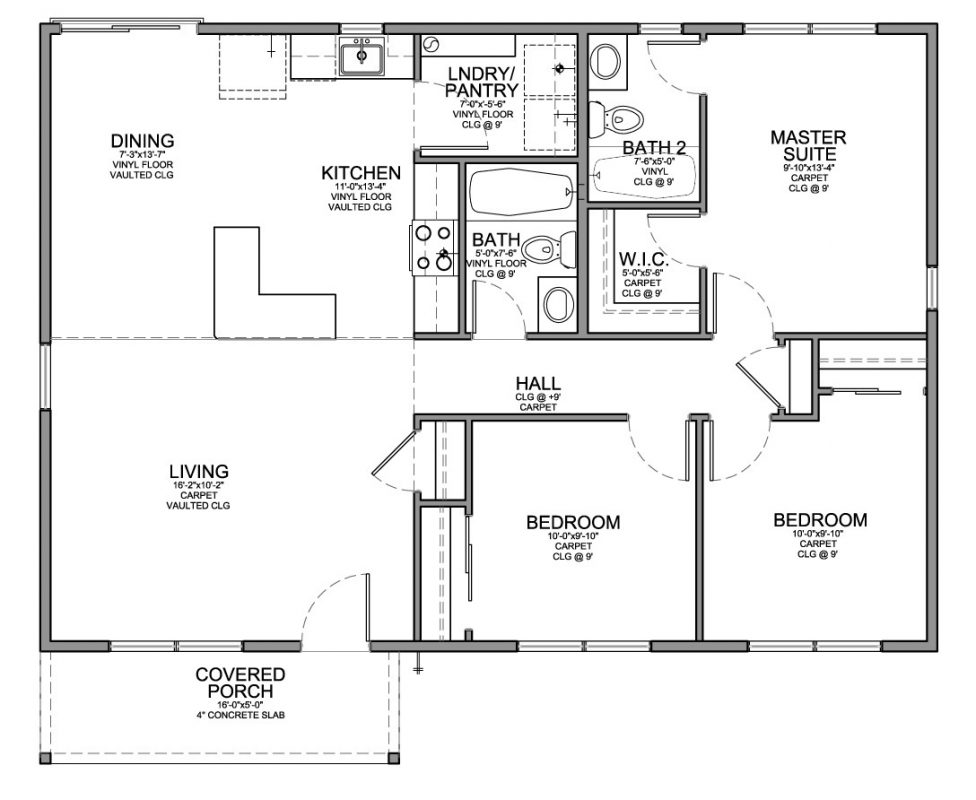 Floor Plan For Affordable 1,100 Sf House With 3 Bedrooms