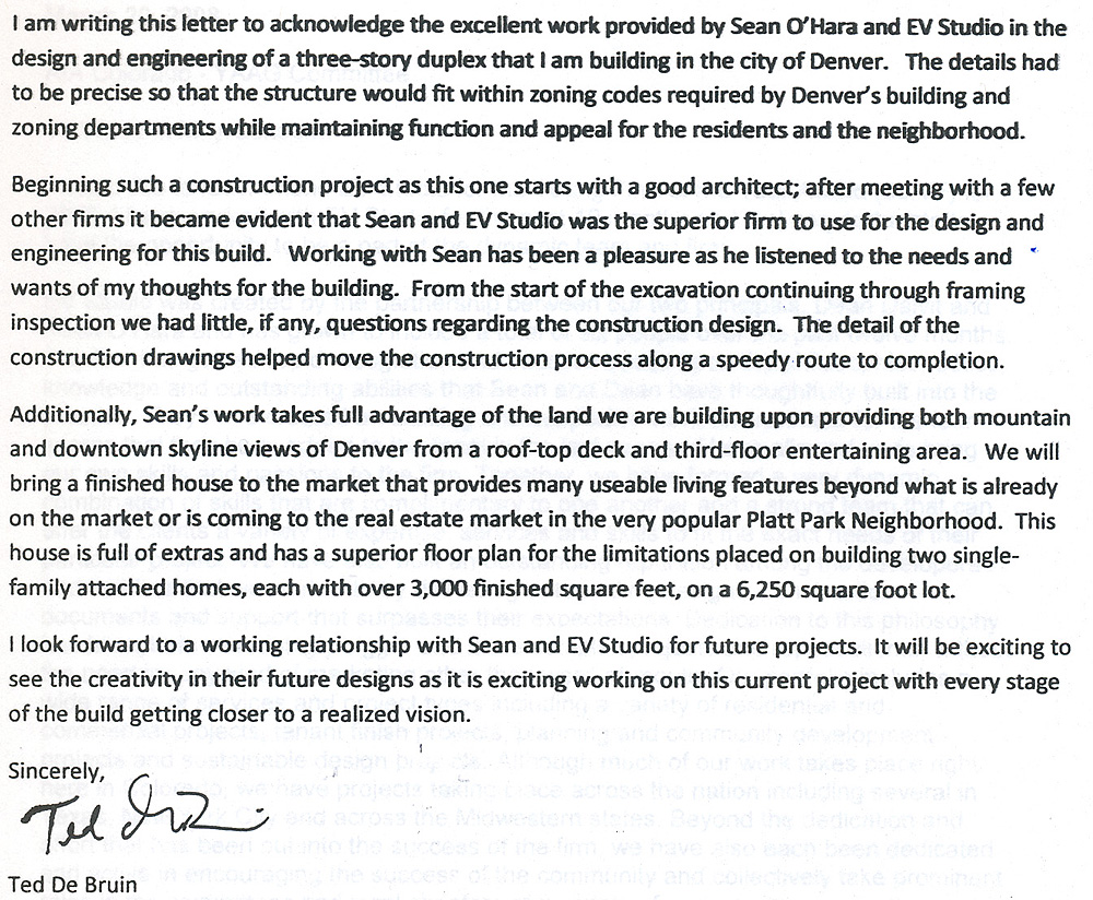 Letter Of Recommendation For EVstudio Architecture From Ted De Bruin EVstudio Architect