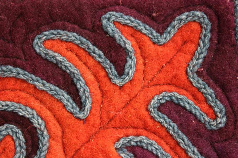 Mozaik technikával készült ülőpárna részlet-készítette Szakady Kincső