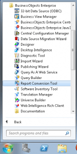 Report Conversion Tool shortcut location