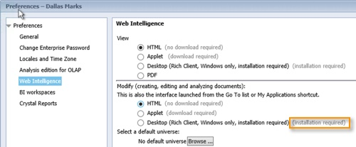 Web Intelligence Preferences
