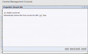 Recycle Bin Application Properties Dialog