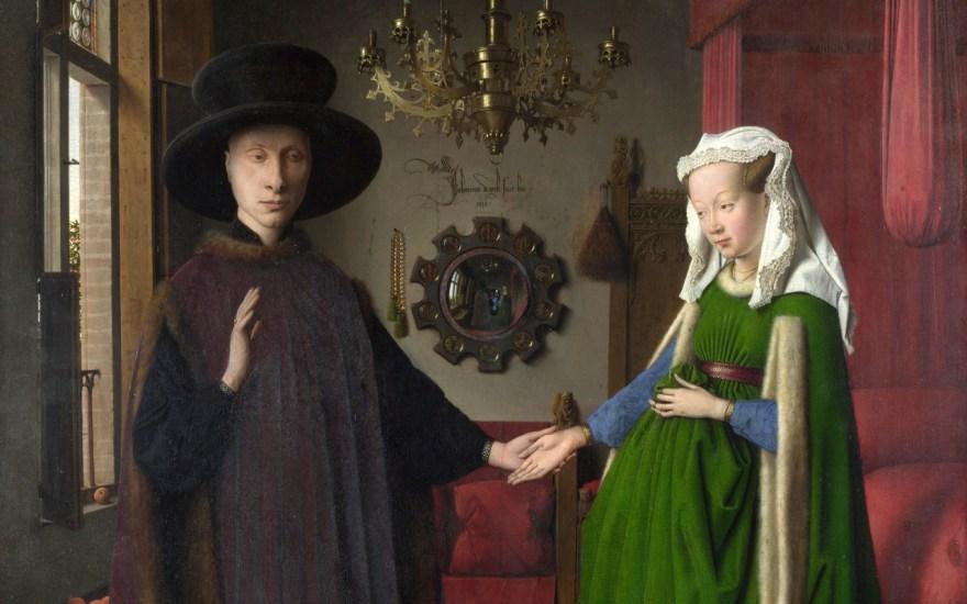 Jan van Eyck - Portret małżonków Arnolfini (fragm.)