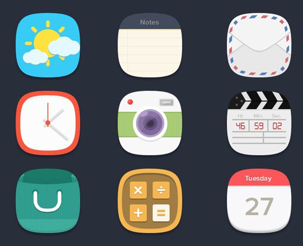 Rounded flat app icons