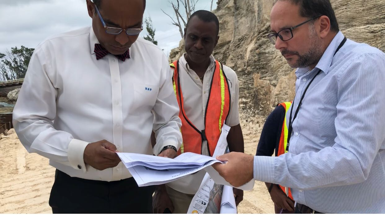 Environment Minister Ferreira inspects $10m Clifton Pier oil containment construction project