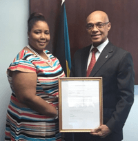 OAS Scholarship pays courtesy call on Minister of Education