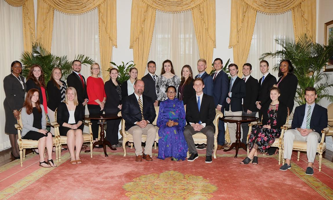 Leadership Class of Drake University paid courtesy call on the Governor General