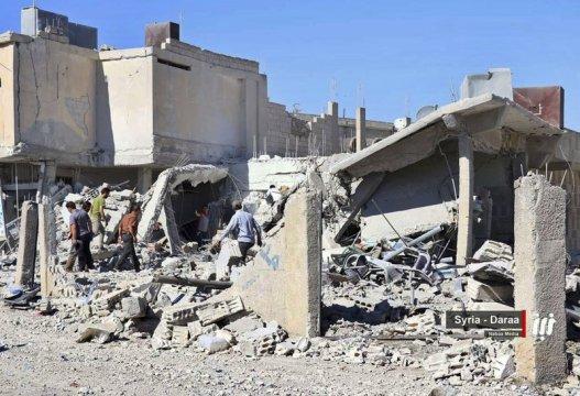 Airstrikes pound southern Syria, causing thousands to flee