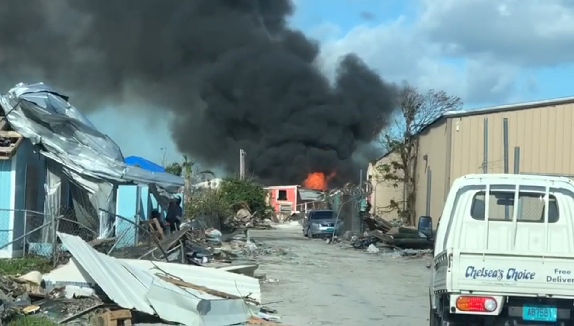 BREAKING: Large fire rages in Abaco
