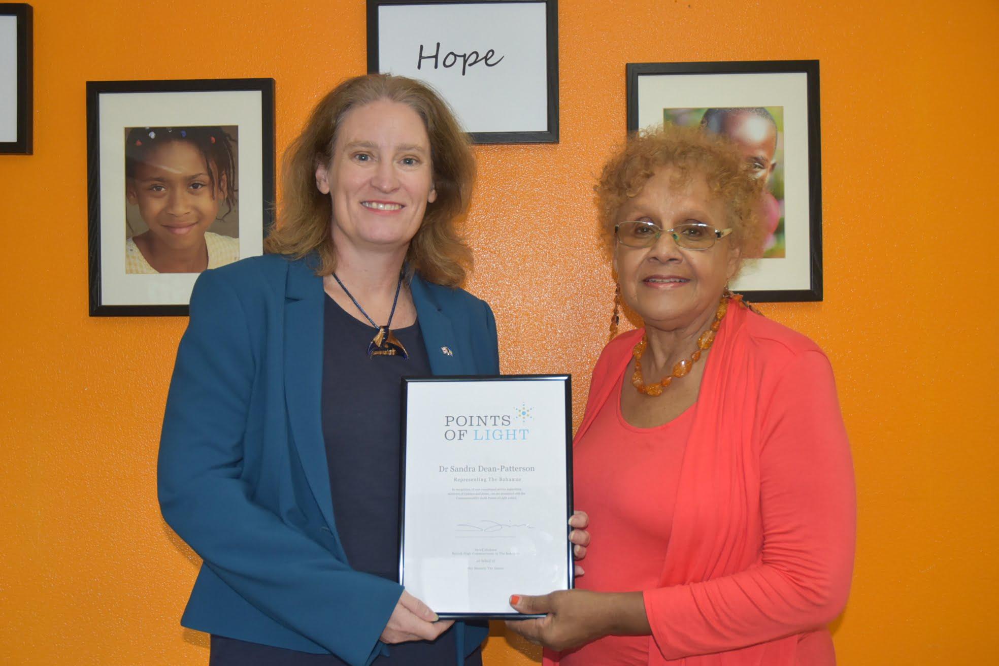 Queen Elizabeth II recognizes Bahamian volunteer with Commonwealth Points of Light award