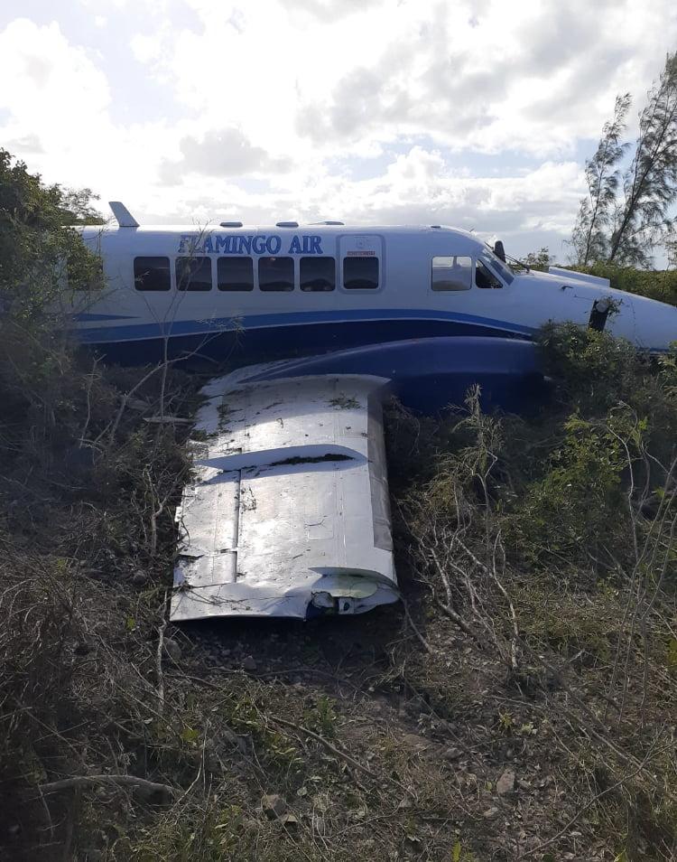 Plane veers off runway in Exuma