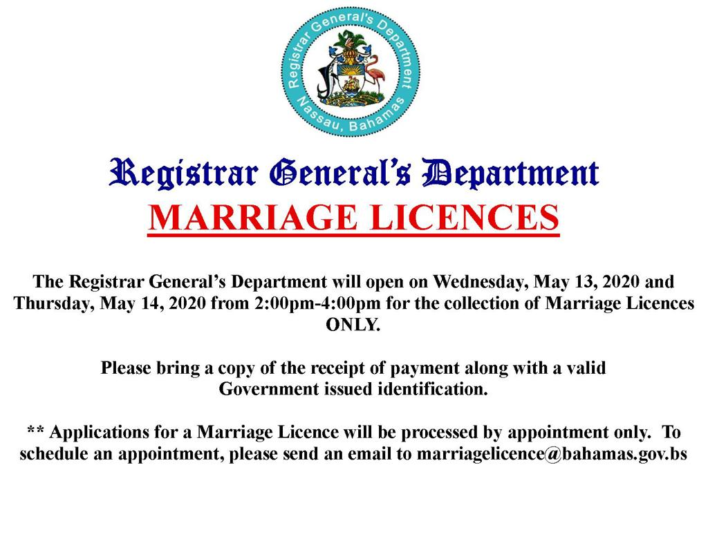 Marriage license collection resumes next week