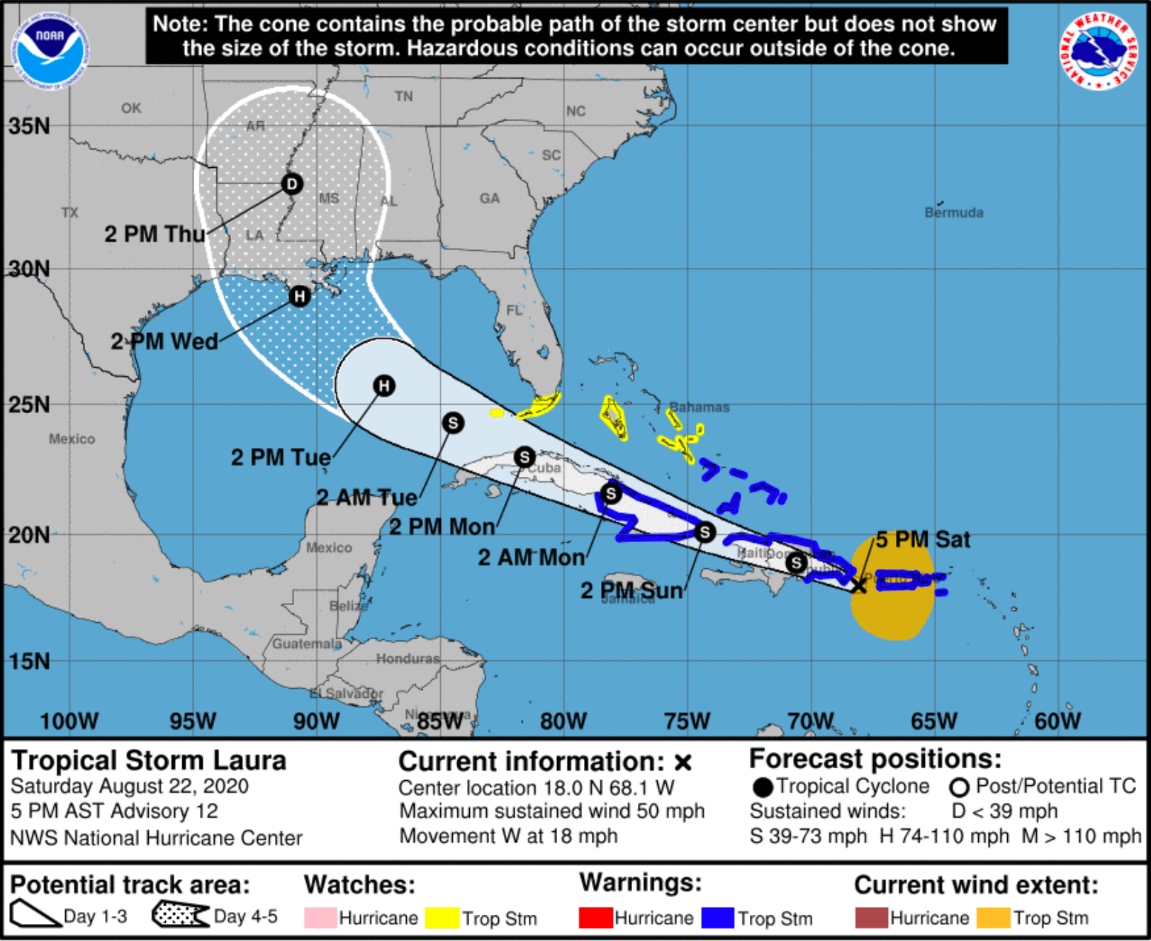 Tropical storm warning for southeast Bahamas