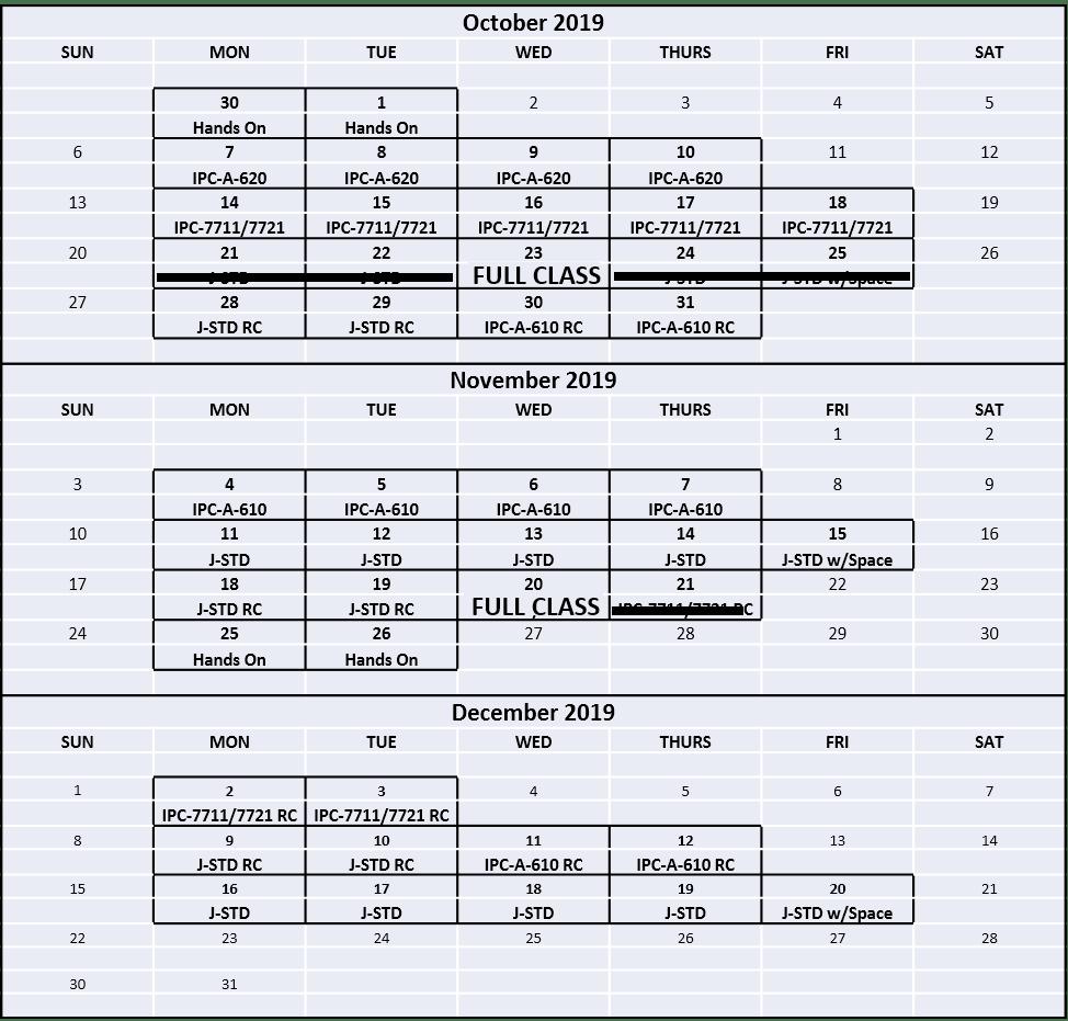 2019 Course Calendar - Calendar View