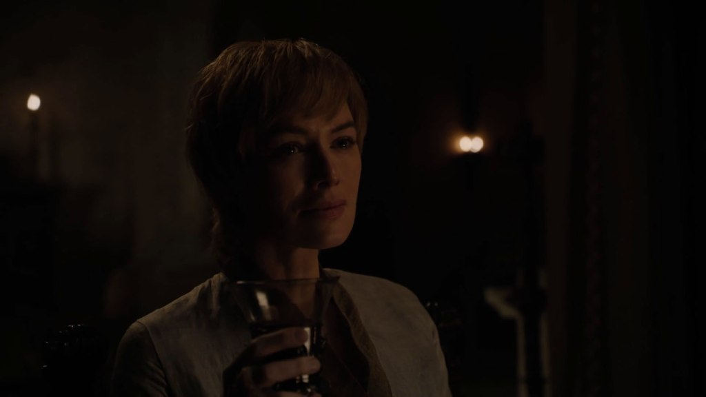 Cersei sips her wine after making out with Euron Greyjoy. Game of Thrones Season 8 Premier.