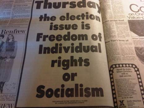Political ad from 1975