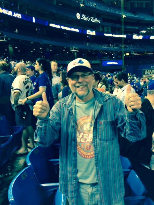 Rod Mickleburgh celebrates a Blue Jay moment