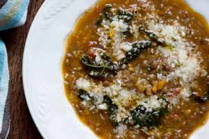 Lentil soup with tuscan kale. Photo by Louise Crosby.