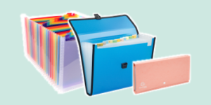 Exacompta expanding organisers for filing and organisation, available from ExaClair Limited