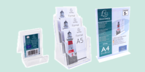Exacompta literature, pamphlet and leaflet holders for retail and tourism