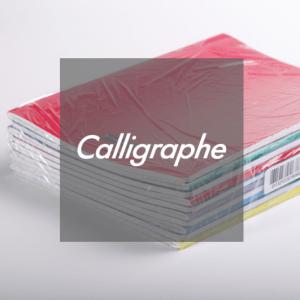 Calligraphe logo in front of shrinkwrapped exercise books