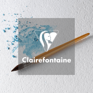 Clairefontaine logo in front of fine art materials and brush